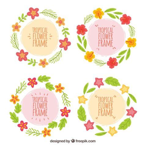 cornici rotonde quattro cornici rotonde con decorazioni floreali disegnate