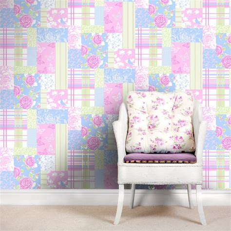 Pollyanna Patchwork - coloroll pollyanna patchwork floral wallpaper green blue