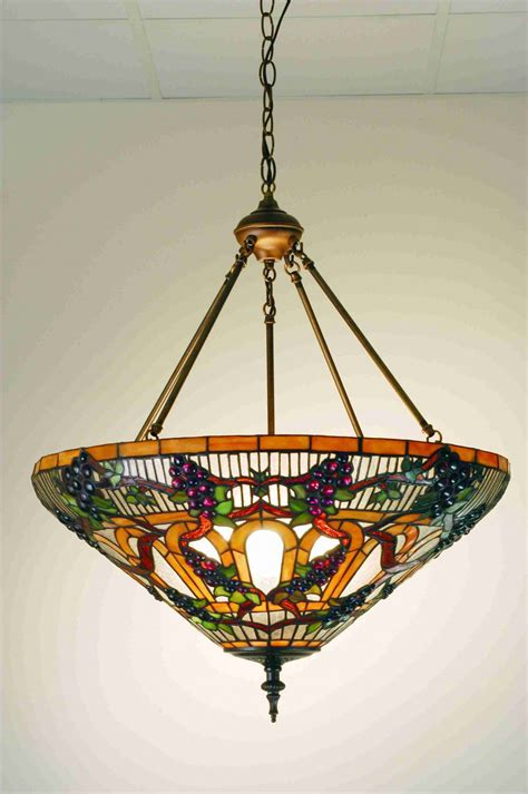 Stained Glass Ceiling Light Fixtures Meyda 24 Quot Stained Glass Jeweled Grape Inverted Ceiling Light Fixture