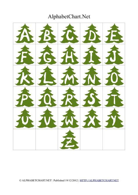 christmas tree shaped alphabet letter charts alphabet