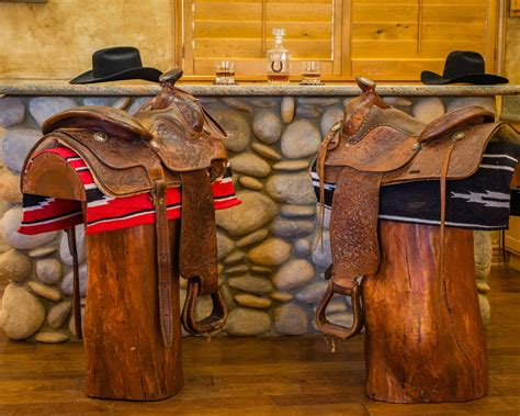 Bar Stools Made From Saddles by Cowboy Western Saddle Bar Stools Ponderosa Ranch Outfitters