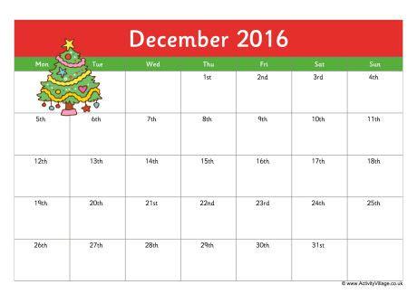 december 2016 calendar cute | weekly calendar template