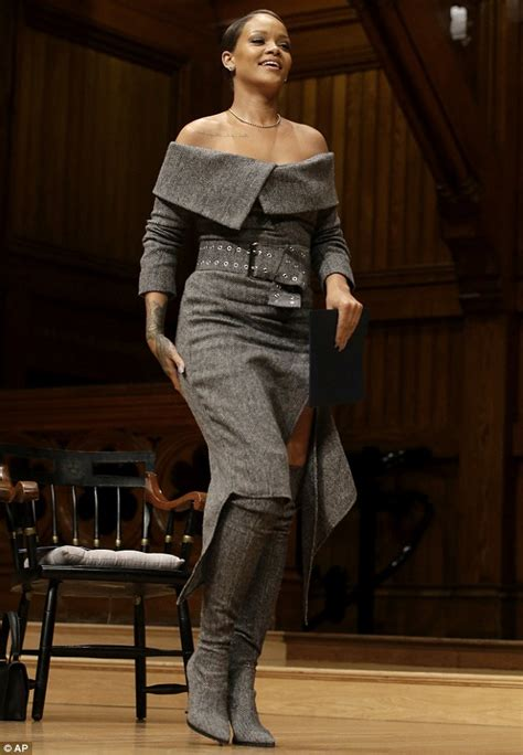 Dress Harvard rihanna glamorous in a grey dress during harvard visit daily mail