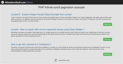 tutorial codeigniter jquery ajax php infinite scroll pagination using jquery ajax exle