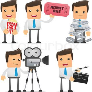 set of funny cartoon office worker in various poses for