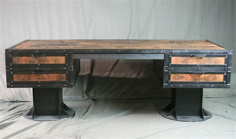 metal and wood desk with drawers combine 9 industrial furniture vintage industrial