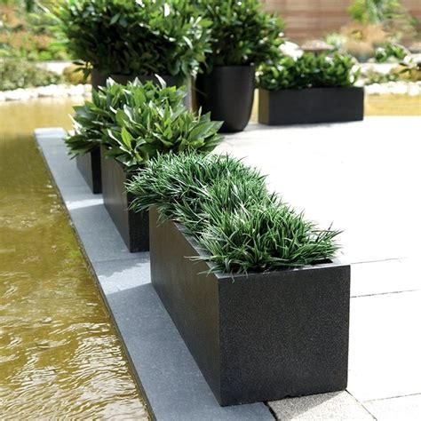 Outdoor Outdoor Patio With Black Rectangular Planter Box Black Rectangular Planter