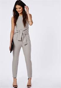 crepe tie waist jumpsuit ice grey jumpsuits missguided