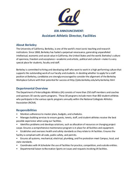 Cover Letter Exles Ucsd Assistant Athletic Director Facilities Uc Berkeley