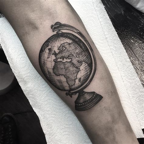 world globe tattoo dotwork tattoo style pinterest