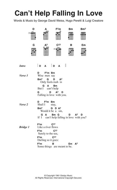 ukulele tutorial can t help falling in love can t help falling in love sheet music by andy williams