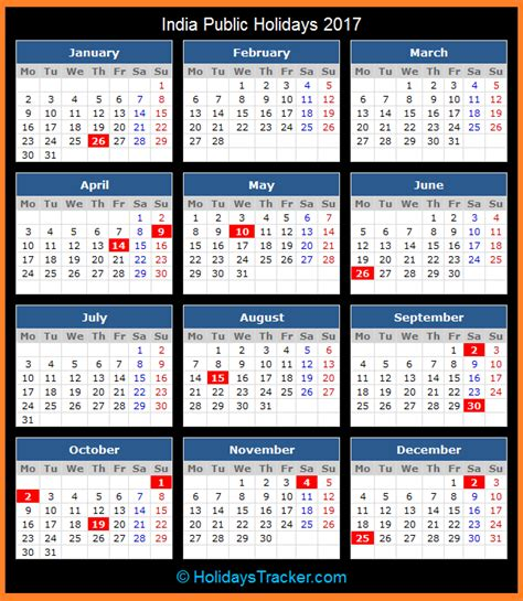 Indian Calendar India Holidays 2017 Holidays Tracker