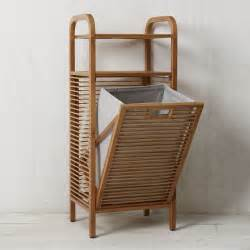 bamboo bathroom storage bamboo laundry her ritz modern hers by west elm