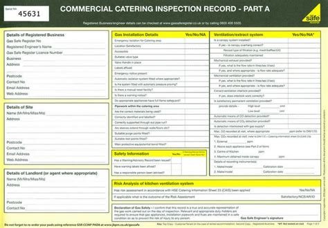 commercial catering inspection record gas amp heating