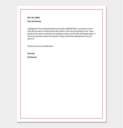 Absence Apology Letter To The Apology Letter For Absence From School Due To Illness Sle Letter