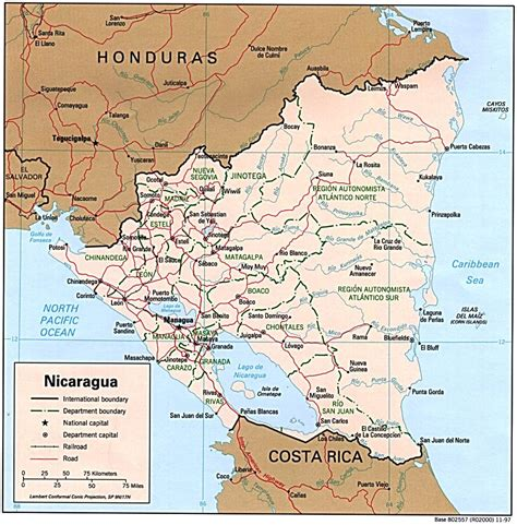 political map of nicaragua nicaragua political map