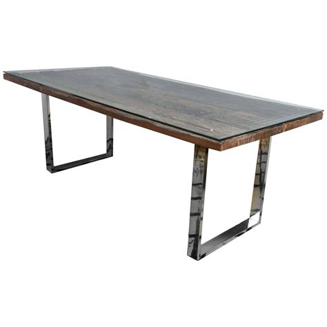 Recycled Dining Table Rustic Modern Chrome And Reclaimed Barn Wood Fabulous Dining Table At 1stdibs