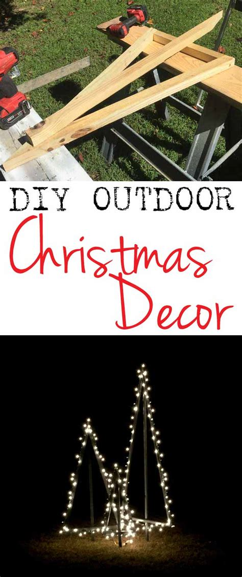 diy modern style lighted outdoor christmas trees