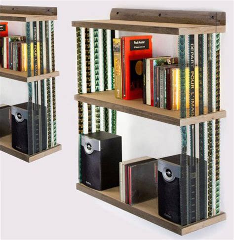 collapsible hanging bookshelf made with reused 35mm