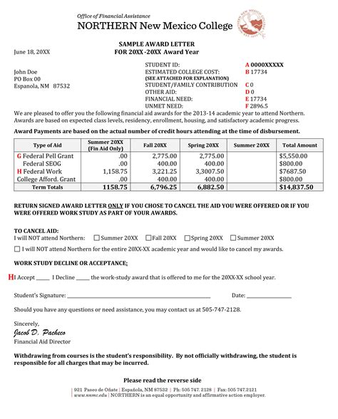 Student Finance Notification Letter Award Letter Northern New Mexico College