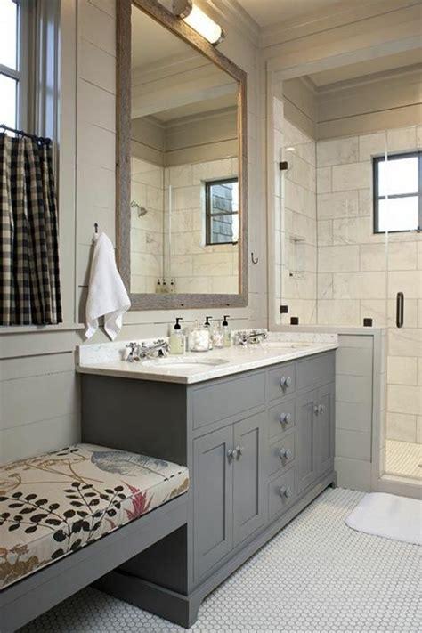 farmhouse style bathroom  walk  shower love