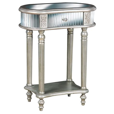 silver accent tables hand painted silver mirrored accent table