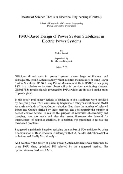 master thesis electrical power engineering master of science thesis in electrical engineering
