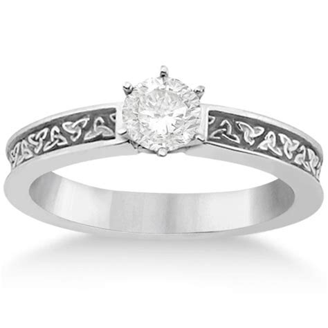 Carved Irish Celtic Engagement Ring & Wedding Band Set 14K