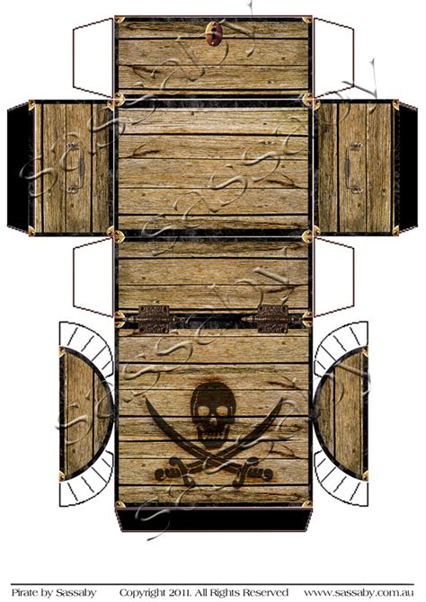 free printable treasure chest template pirate treasure chest box