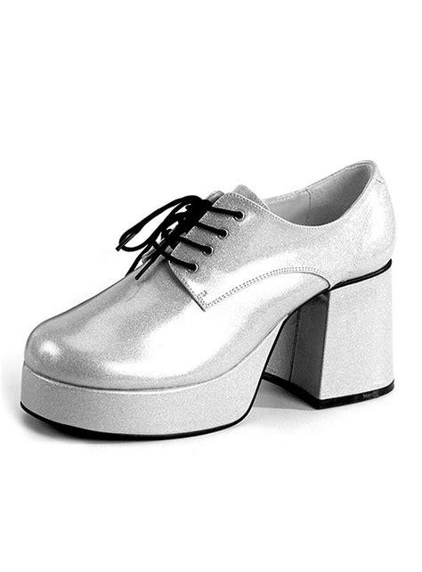 70 s platform shoes silver