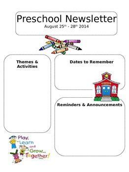 Editable Newsletter Template Preschool Daycare Or Elementary Tpt Preschool Newsletter Template