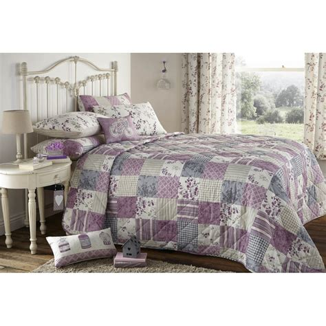 Patchwork Bedding And Curtains - dreams n drapes lila lilac quilted patchwork bedspread