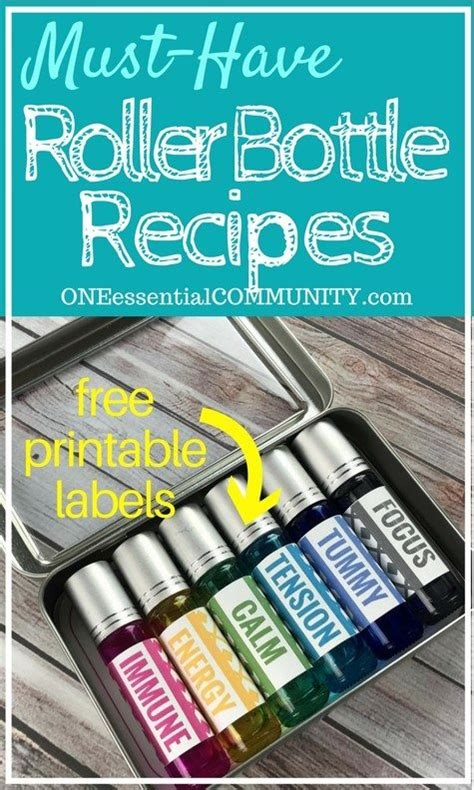 Roller Bottle Recipes Free Printable Labels One Essential Community Essential Bottle Label Template
