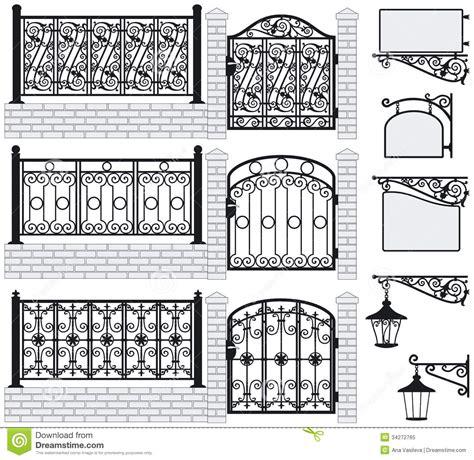 Set of iron wrought fences gates signboards lan stock vector illustration of black craft