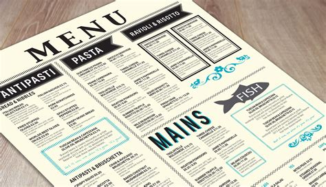 Get The Look Free Menu Templates Print And Marketing Blog Print Print Newspaper Menu Template