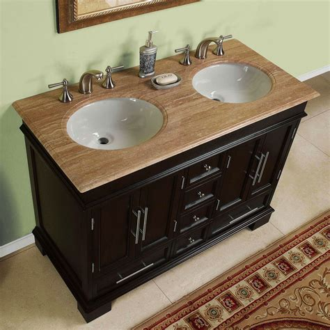 48 Quot 0224tr Compact Travertine Bathroom Double Sink 48 Bathroom Vanity Sink