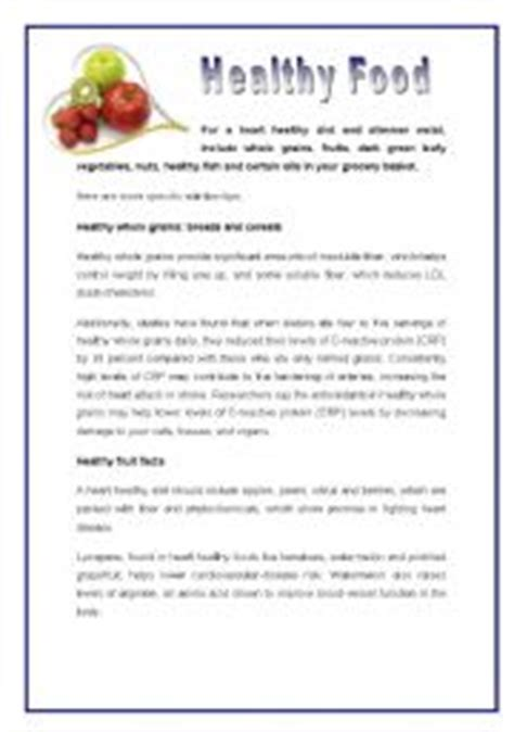 reading comprehension test about food english worksheets healthy food for a healthy heart
