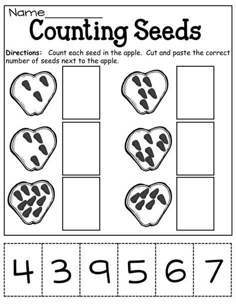 Seed Worksheets For Kindergarten by Counting Seeds Cut And Paste Counting Numbers