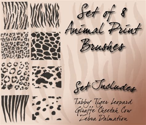 animal pattern brush photoshop animal print brushes by cyb3rpaw on deviantart