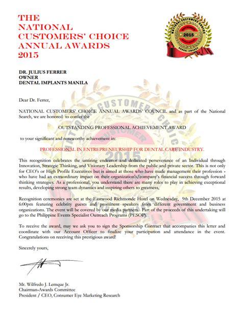 Jrf Award Letter June 2015 dental implants manila philippines dr julius ferrer wins national customer s choice award