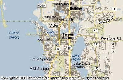 where is tarpon springs florida map tarpon springs map