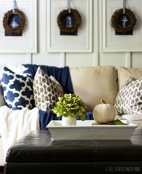 navy blue home decor fall decor in navy and blue