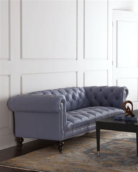 morgan leather sofa old hickory tannery morgan periwinkle chesterfield leather