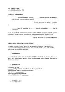 contrat de bail d habitation non meubl 233 mod 232 le de lettre