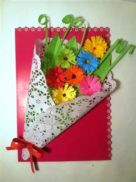 Handmade Cards For Children - s day card craft quot bouquet of flowers quot for