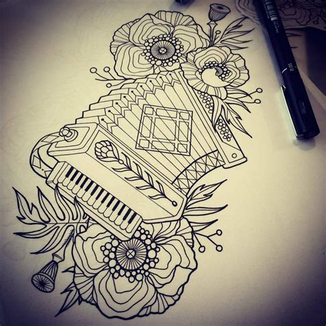 accordion tattoo ariane s accordion drawing tattoos time