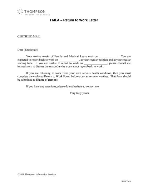 sle cover letter for returning to work return to work letter return to work note sle 6 exles in