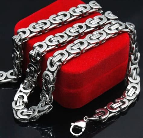 Mens Stainless Steel Byzantine Chains Necklaces Jewellery