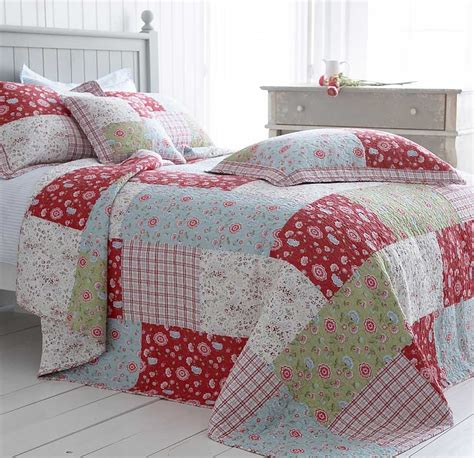 Patchwork Bed - blue green floral bedding cotton quilted patchwork