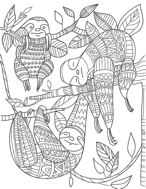 sloth animal coloring pages 187 coloring pages sloth zentangle colouring animals zentangles